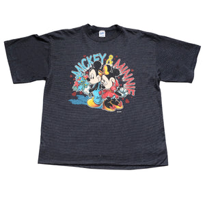 Vintage Mickey & Minnie Stripe T-Shirt - L