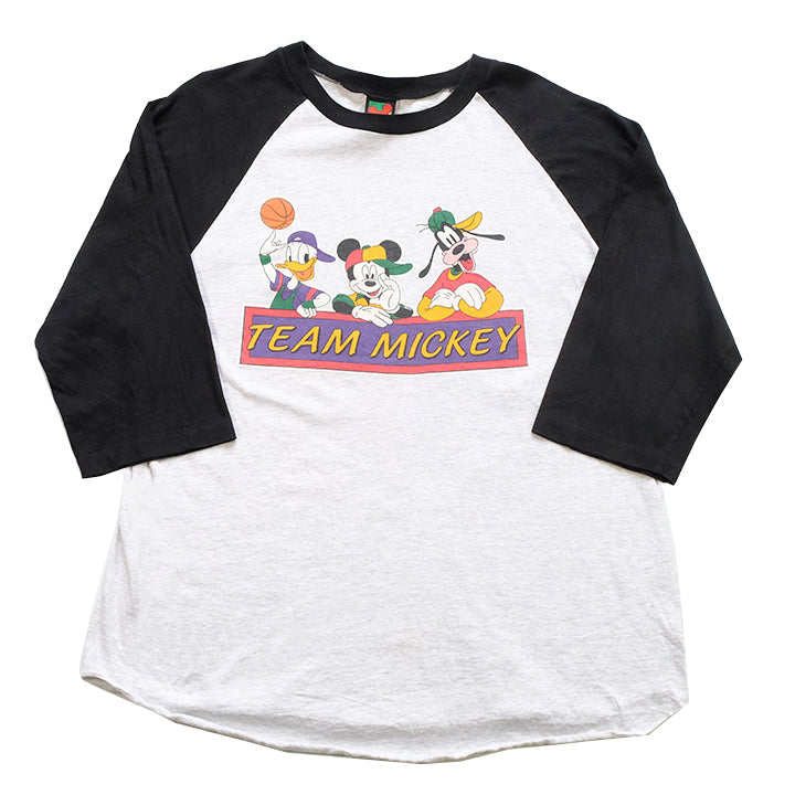 Vintage Mickey Mouse Raglan Graphic T-Shirt - L