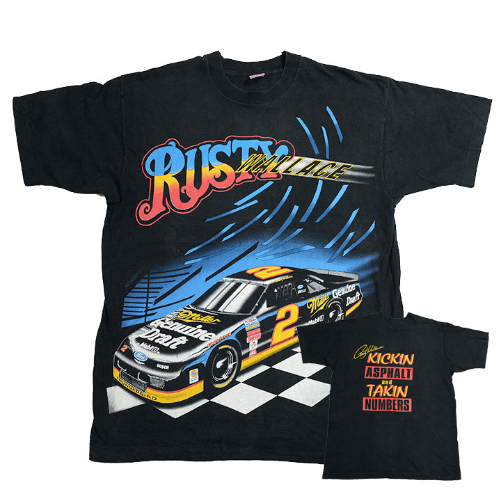 Vintage Nascar Racing Wallace All Over Print T-Shirt - XL