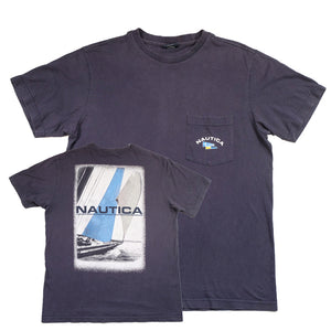 Vintage Nautica Sail Boat Big Graphic T-Shirt - M