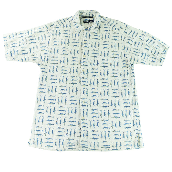 Vintage Nautica All Over Print Short Sleeve Button Up - L