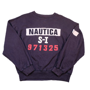 Vintage Nautica Big Embroidered Spell Out Crewneck - L