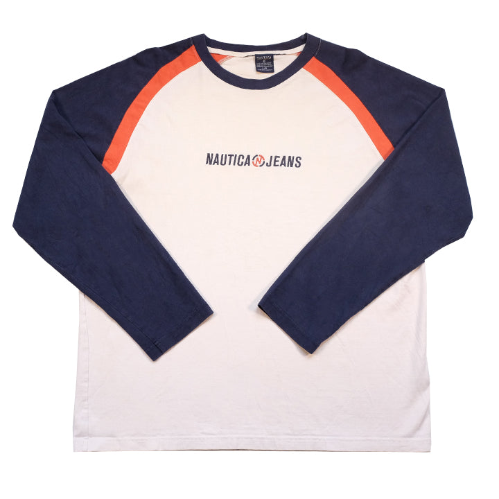 Vintage Nautica Jeans Embroidered Spell Out Long Sleeve - L