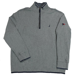 Nautica Quarter Zip Embroidered Logo Sweatshirt - M