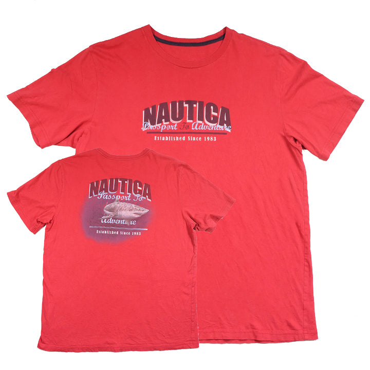 Vintage Nautica Shark Spell Out Graphic T-Shirt - L