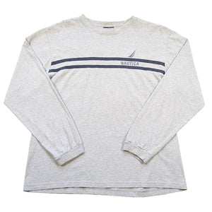 Vintage Nautica Stripe Spell Out Long Sleeve - M