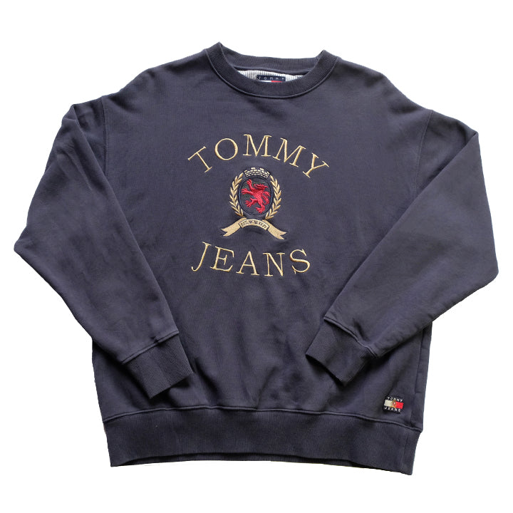 Vintage RARE Tommy Hilfiger Big Embroidered Lion Crest Spell Out Crewneck - M/L