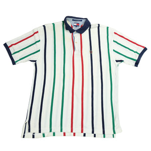 Vintage Tommy Hilfiger Lion Crest Stripe Polo - XL