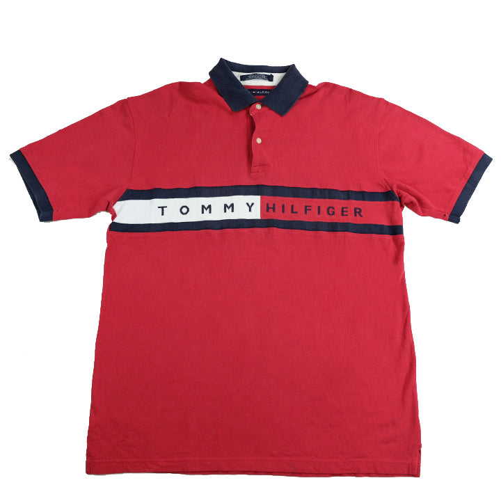 Vintage Tommy Hilfiger Big Flag Spell Out Polo - L