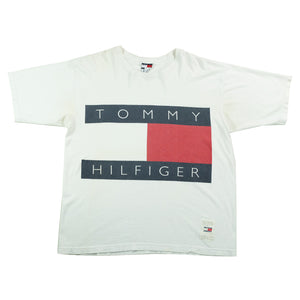 Vintage RARE Tommy Hilfiger BIG Flag Spell Out Made In USA T-Shirt - L