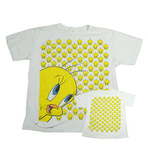 Vintage Tweety Bird All Over Front & Back Print T-Shirt - L