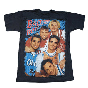 Vintage RARE 90s Backstreet Boys Front & Back Graphic Single Stitch Rap T-Shirt - M