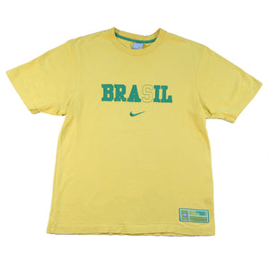 Vintage Nike Brasil Embroidered Spell Out T-Shirt - M