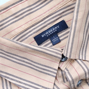 Vintage Burberry Classic Check Embroidered Logo Button Up Shirt - L