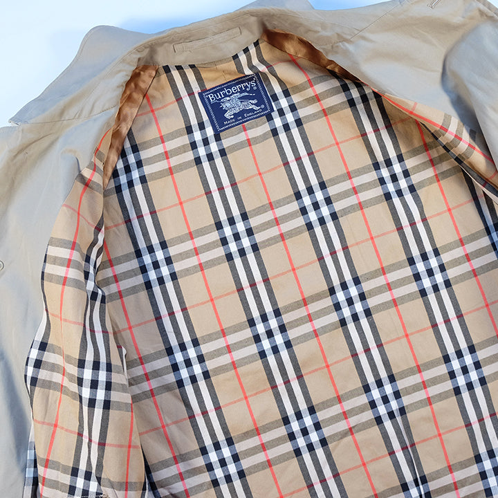 Vintage Burberry OG Nova Check Lined Trench Coat Made In England - L/XL