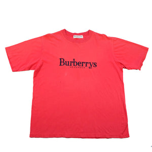 Vintage RARE Burberrys Of London Embroidered Spell Out T-Shirt - L