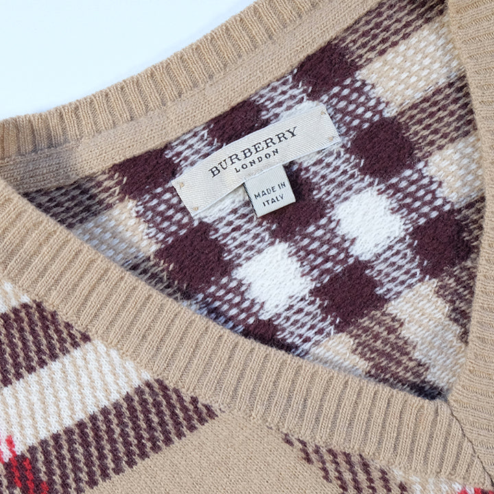 Vintage Burberry All Over Check Print Vest - S