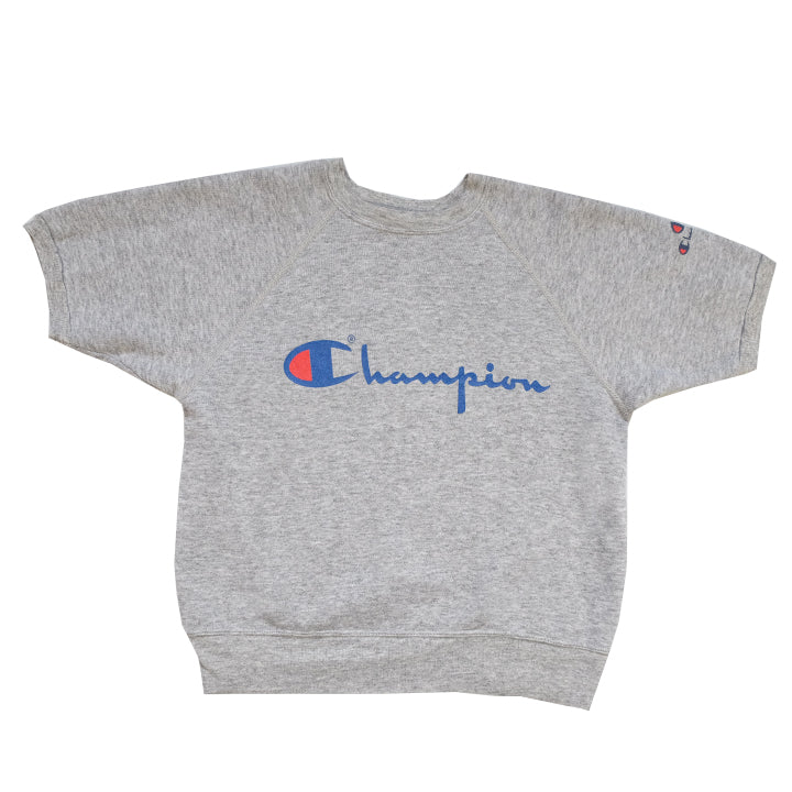 Vintage Champion Spell Out Short Sleeve Sweatshirt - XS