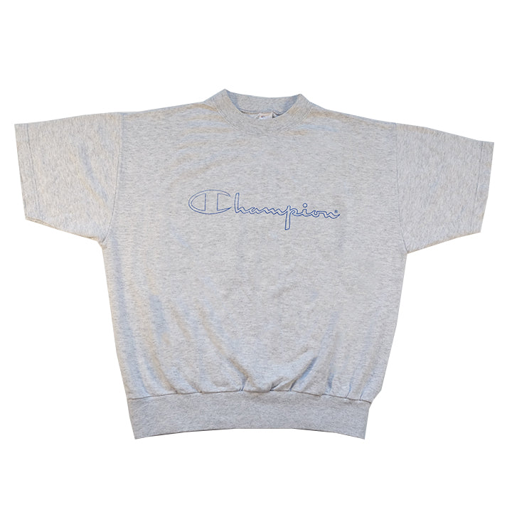 Vintage Champion Spell Out Short Sleeve Sweatshirt - M/L