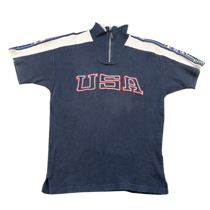 Vintage Champion USA Embroidered Tape Spell Out Waffle Top - M