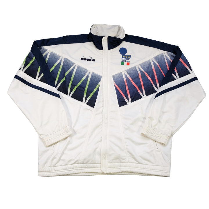 Vintage RARE Diadora Italia Embroidered Football Track Jacket - L/XL