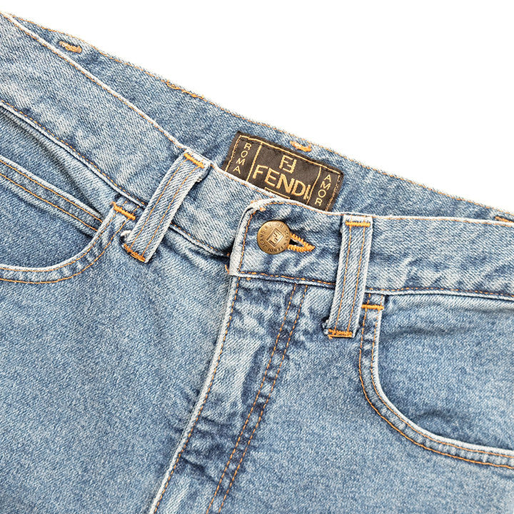 Vintage Fendi WOMENS Embroidered Logo High Waisted Denim Jeans - AU 4-6