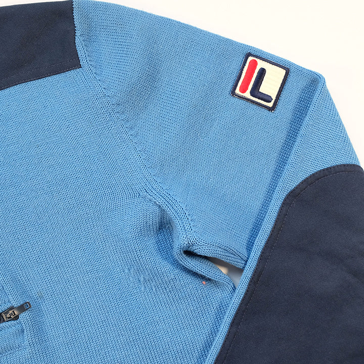 Vintage 80s Fila Logo Quarter Zip Sweater Made In Italy- L