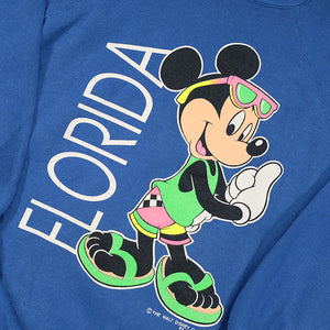 Vintage Mickey Mouse Florida Big Graphic Made In USA Crewneck - L