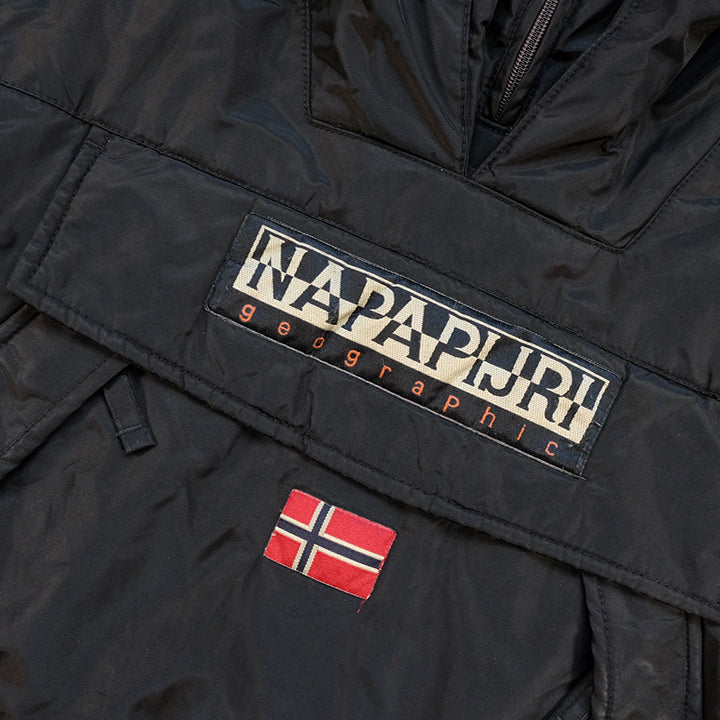 Vintage Napapijri Geographic Big Spell Out Logo Quilted Jacket - L