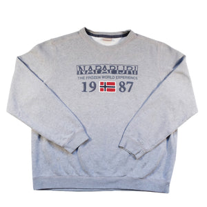 Vintage Napapijri Geographic Embroidered Spell Out Crewneck - L