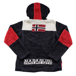 Vintage Napapijri Geographic Sherpa Fleece Spell Out Jacket - XS