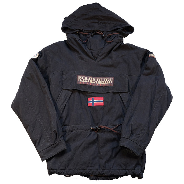 Vintage Napapijri Geographic Big Spell Out Logo Quilted Jacket - XL