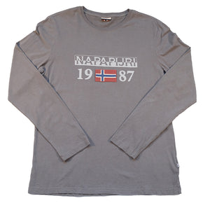 Vintage Napapijri Geographic Spell Out Long Sleeve - L