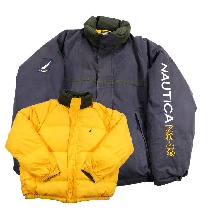 Vintage Nautica Embroidered Spell Out Reversible Down Jacket - XL