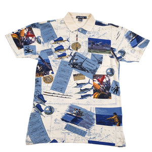 Vintage Nautica Fishing All Over Print Polo Shirt - L