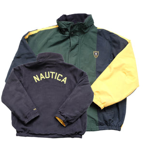 Vintage Nautica Big Embroidered Spell Out Fleece Lined Reversible Jacket - XL