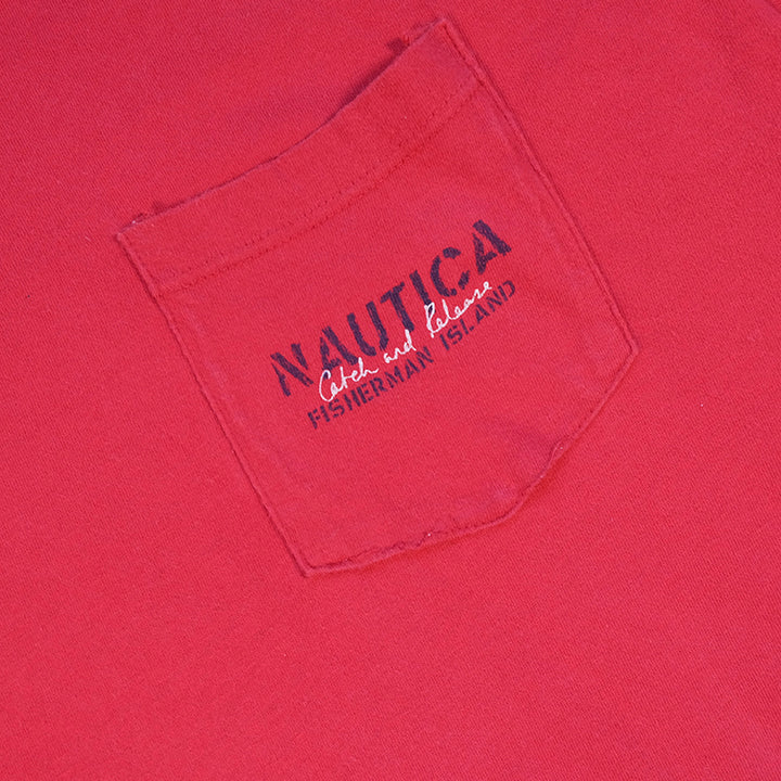 Vintage Nautica Fisherman Graphic Made In USA T-Shirt - XL