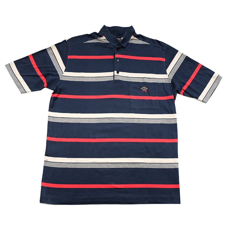 Vintage Paul & Shark Embroidered Stripe Polo Shirt - L/XL