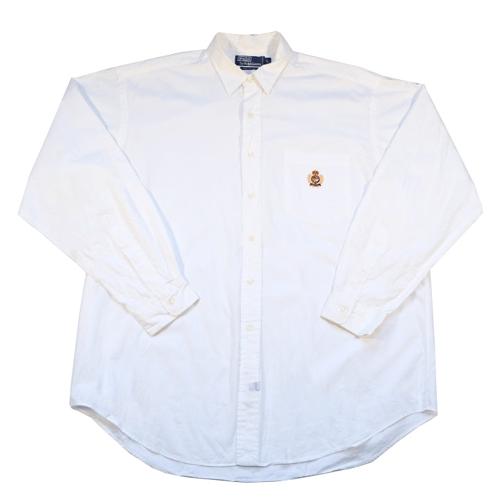 Vintage Rare Polo Ralph Lauren Crest Long Sleeve Button Up - XL