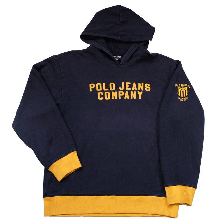 Vintage Polo Ralph Lauren Jeans Big Embroidered Spell Out Hoodie - M