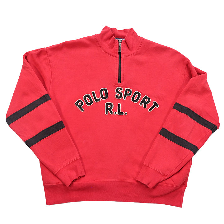 Vintage RARE Polo Sport Big Spell Out Quarter Zip Sweatshirt - S