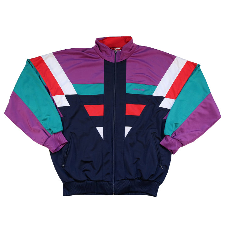 Vintage 80s RARE Adidas Embroidered Logo Track Jacket - XL