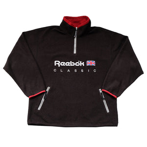 Vintage Rare Reebok Embroidered Spell Out Quarter Zip Fleece - XL