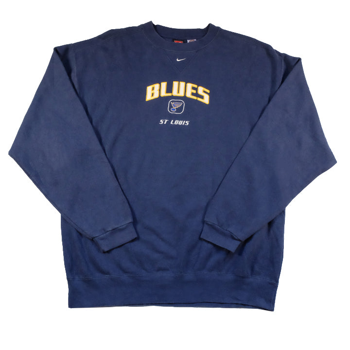 Vintage Nike St Louis Blues Embroidered Spell Out Crewneck - XL
