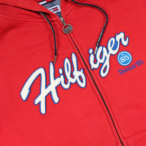 Vintage Tommy Hilfiger Spell Out Zip Up Hoodie - M