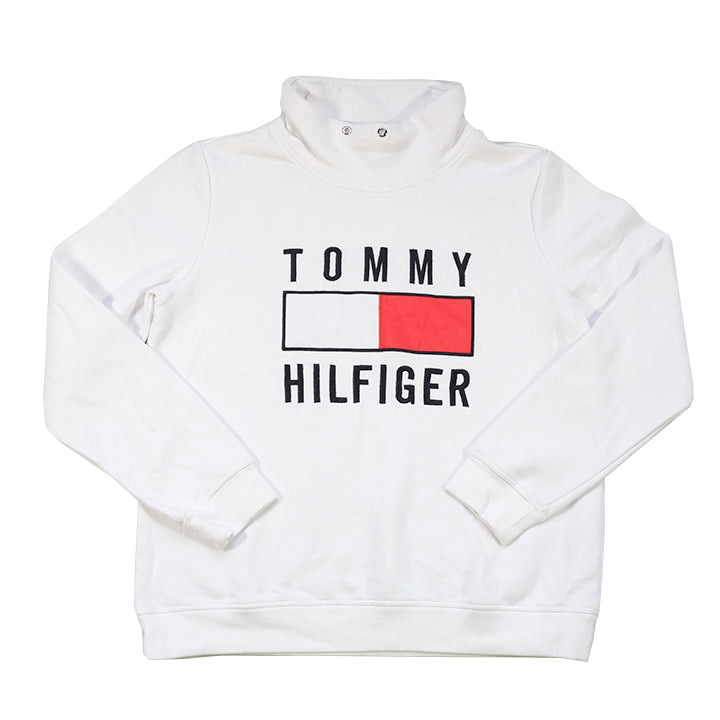 Vintage Tommy Hilfiger WOMENS Embroidered Spell Out Mock Neck Sweatshirt - M