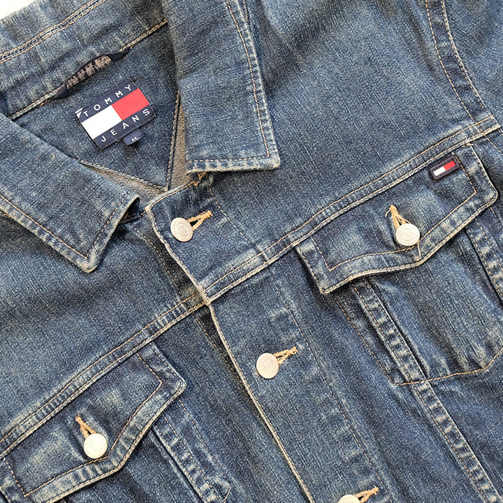 Vintage Tommy Hilfiger WOMENS Logo Denim Jacket - M