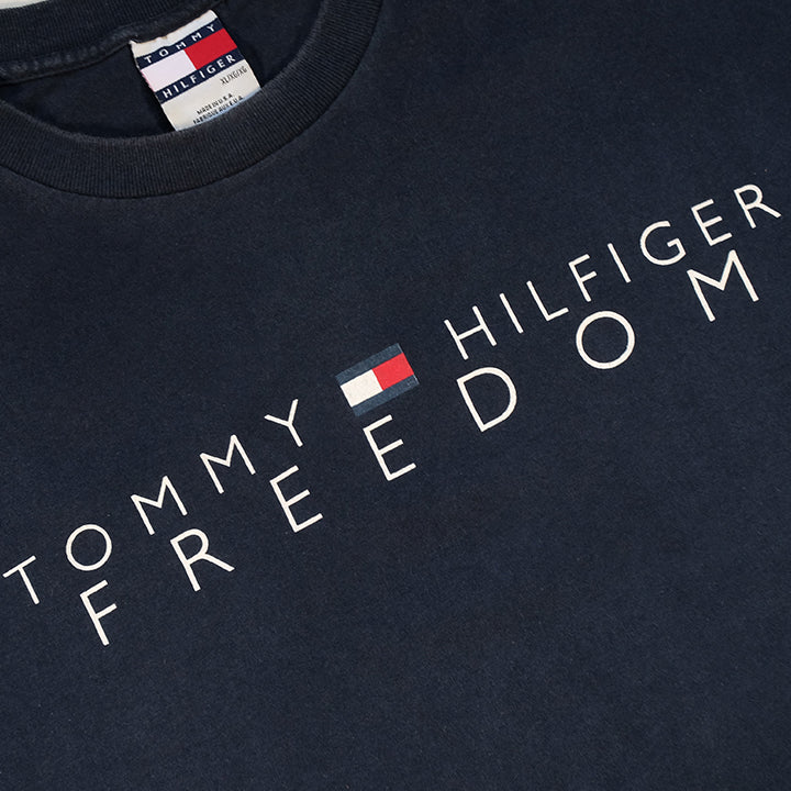 Vintage Tommy Hilfiger Freedom Spell Out MADE IN USA T-Shirt - XL