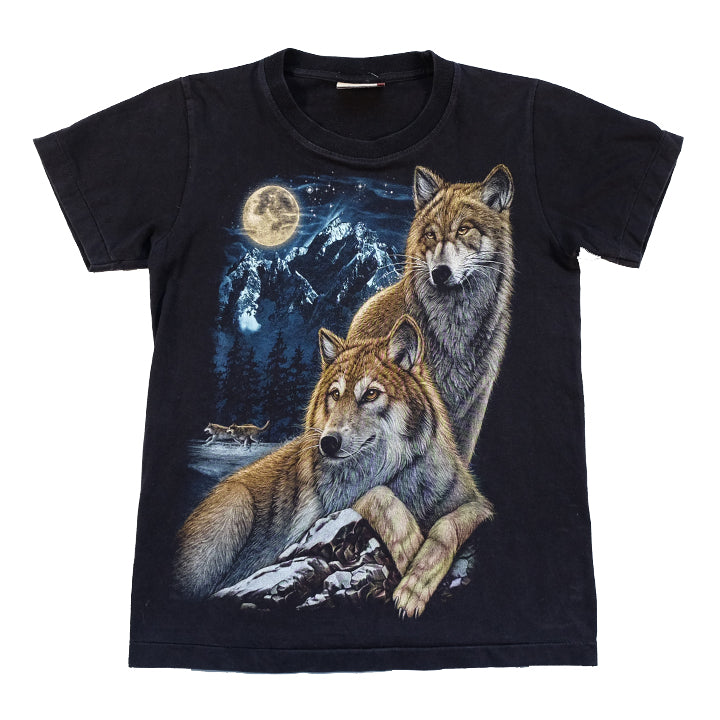 Vintage Wolf Front & Back Graphic T-Shirt - S