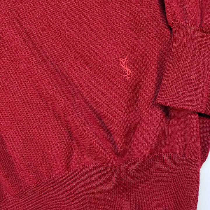 Vintage YSL Yves Saint Laurent Embroidered Logo Sweater - S